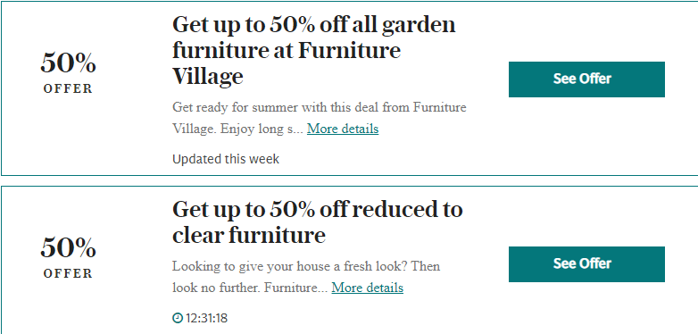 Furniture Village Ridgmont Bedford Offers and Coupons