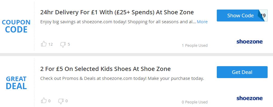 Shoe Zone Bedford Offers and Coupons